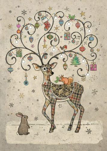 Bug Art Collection Decorated Deer Christmas Card